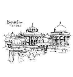 Drawing sketch ahar cenotaphs india vector