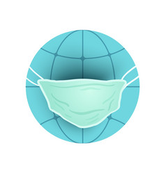 Earth planet with medical mask vector