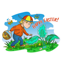 easter egg hunter boy vector image