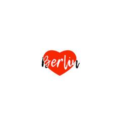 European capital city berlin love heart text logo vector