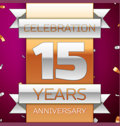 Fifteen years anniversary celebration design vector