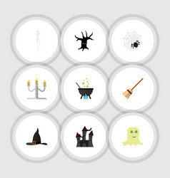 flat icon celebrate set of spirit witch cap vector image