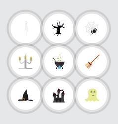 Flat icon celebrate set of spirit witch cap vector