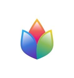 Flower logo lotus colorful symbol health yoga icon vector