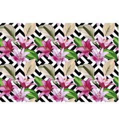 flower seamless geometric black white background vector image