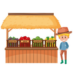 Food vendor with fruits and farmer on white vector