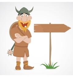 Funny cartoon viking vector image