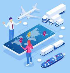 global logistics network isometric vector image