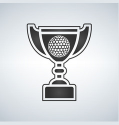 Golf trophy cup award icon in flat style vector