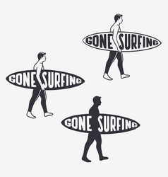 gone surfing quote typography with vintage men vector image