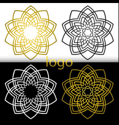 graphic geometric goldenwhite black flower symbol vector image