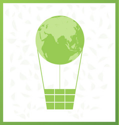 Green globe balloon and leaf design vector