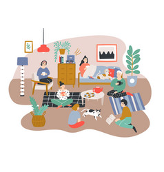 group of men and women sitting in room furnished vector image