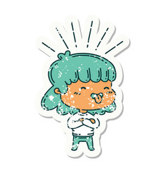 Grunge sticker tattoo style girl sticking out vector