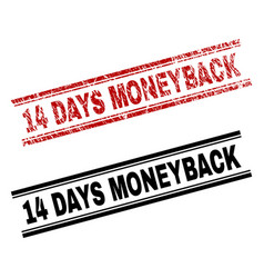 grunge textured and clean 14 days moneyback stamp vector image