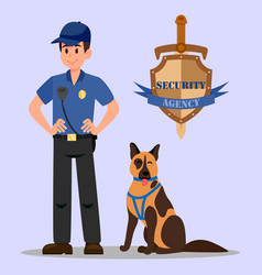 Guardian and service dog flat vector