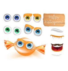 halloween emoji face character alive candy monster vector image