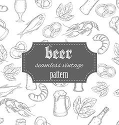 hand drawn seamless beer vintage pattern vector image