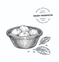 Hand drawn sketch style mozzarella cheese in bowl vector