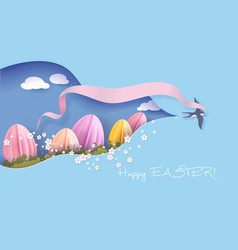 Happy easter spring paper cut 3d vector