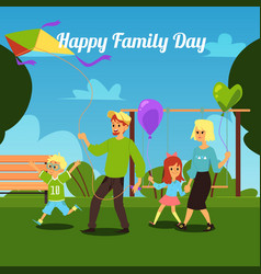 happy family day - cartoon parents and children vector image