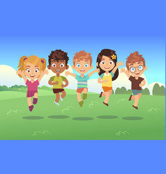 happy jumping kids children holiday cartoon vector image