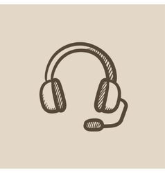 Headphone with microphone sketch icon vector