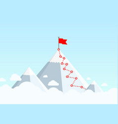 hiking trip to top mountain in the vector image