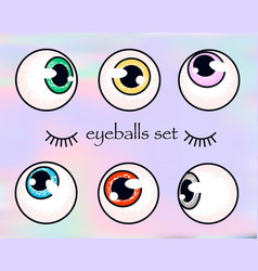 human eyeballs set on holographic background vector image