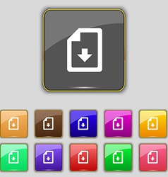 Import download file icon sign Set with eleven vector