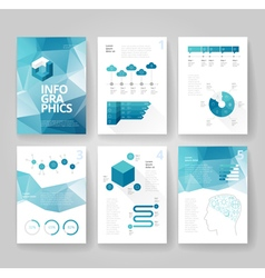 Infographics brochure blue poly graph vector