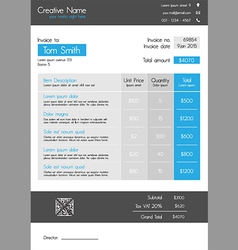 Invoice template - blue theme with big item tab vector image