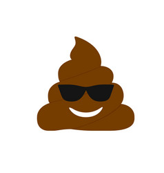 Isolated brown dung pondering face flat icon vector