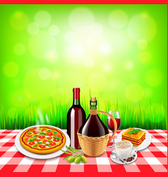 Italian food on checkered tablecloth table and vector