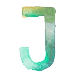 Letter J Colorful watercolor aquarelle font type vector