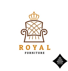 Linear style furniture logo with crown vector