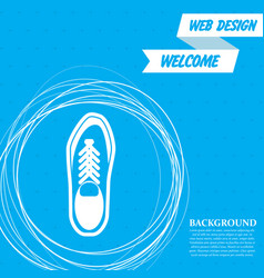 low shoe icon on a blue background with abstract vector image