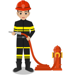 male firefighter holding water hose vector image