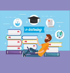 Man with elearning laptop technology education vector