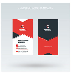 modern creative vertical red business card vector image