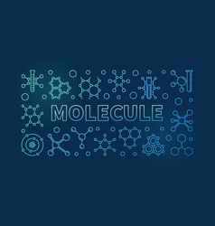 molecule blue linear horizontal vector image