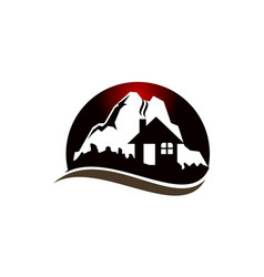 mountain hostel logo design template vector image