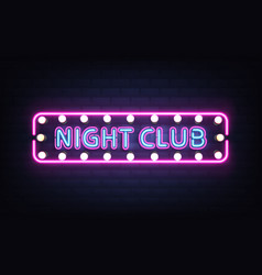 night club neon retro signboard realistic vector image