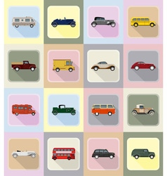 Old retro transport flat icons 20 vector