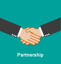 partnership handshake on a turquoise background vector image