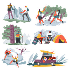 people on vacation hiking and traveling character vector image