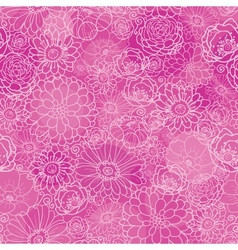 Pink lineart floral texture seamless pattern vector image