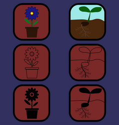 plant icons set vector image