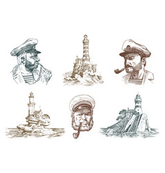 portrait of a sea captain marine old sailor and vector image