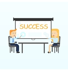 Projection screen Modern business teachers giving vector image